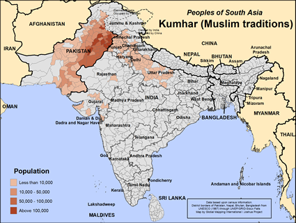 Map of Kumhar (Muslim traditions) in Pakistan