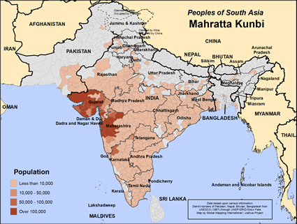 Map of Mahratta Kunbi in India