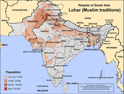 Map of Lohar (Muslim traditions) in India
