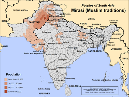 Map of Mirasi (Muslim traditions) in Pakistan
