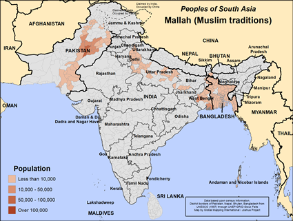Map of Mallah (Muslim traditions) in Pakistan