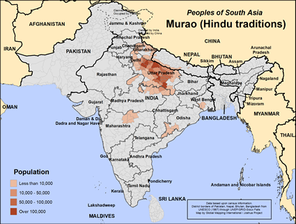 Map of Murao (Hindu traditions) in India
