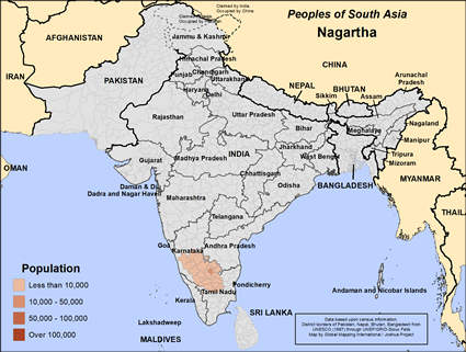 Map of Nagartha in India