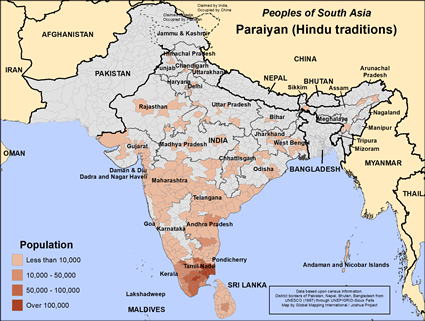 Map of Paraiyan (Hindu traditions) in Sri Lanka