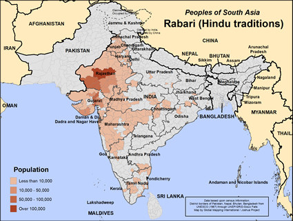 Map of Rabari (Hindu traditions) in India