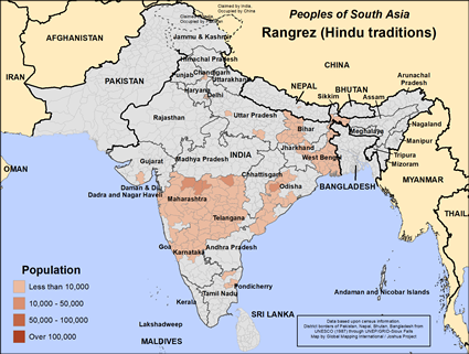 Map of Rangrez (Hindu traditions) in India