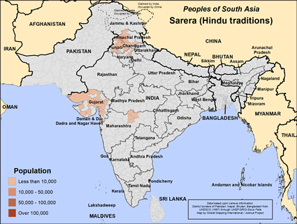 Map of Sarera (Hindu traditions) in India