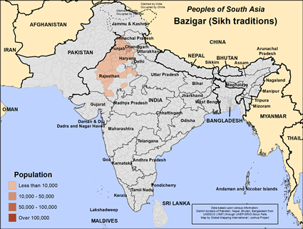 Map of Bazigar (Sikh traditions) in India