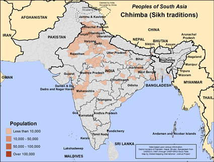 Map of Chhimba (Sikh traditions) in India