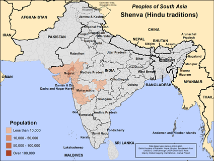 Map of Shenva (Hindu traditions) in India