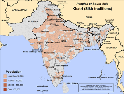 Map of Khatri (Sikh traditions) in India