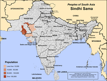 Map of Sindhi Sama in India