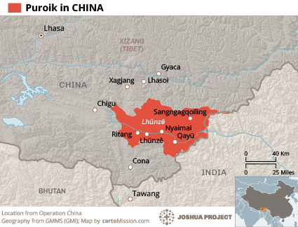 Map of Puroik in China