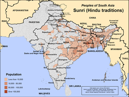 Map of Sunri (Hindu traditions) in Nepal