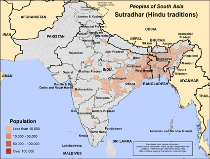 Map of Sutradhar (Hindu traditions) in India