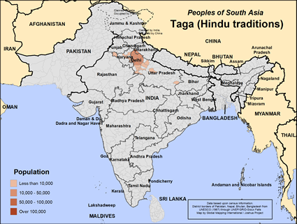 Map of Taga (Hindu traditions) in India