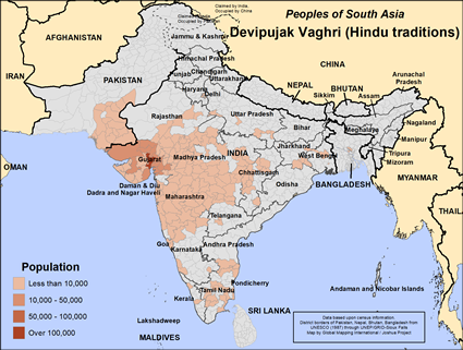 Map of Devipujak Vaghri (Hindu traditions) in India