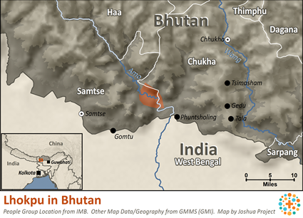 Map of Lhokpu in Bhutan