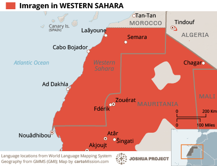 Map of Imragen in Western Sahara