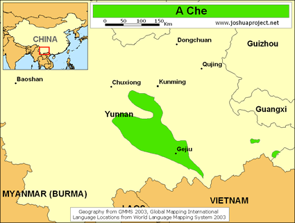 Map of A Che in China