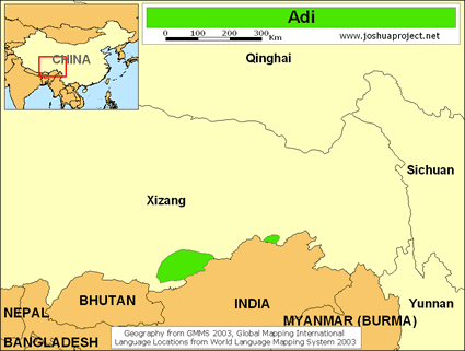 Map of Adi in China
