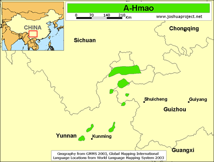 Map of A-Hmao in China