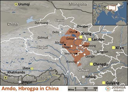 Map of Amdo, Hbrogpa in China