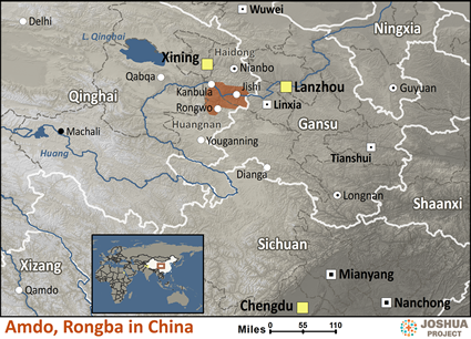 Map of Amdo, Rongba in China