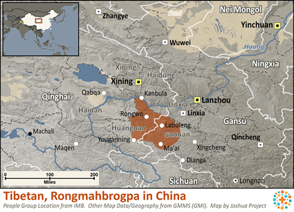 Map of Amdo, Rongmahbrogpa in China