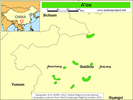 Map of A'ou in China