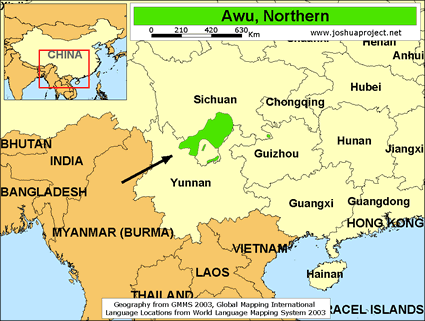 Map of Awu, Northern in China
