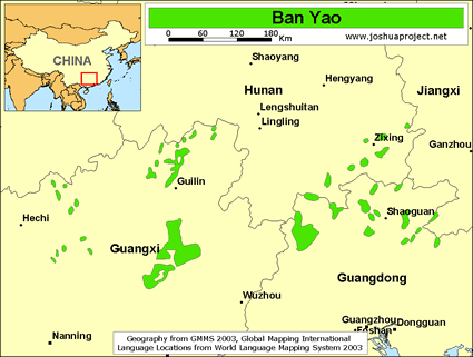 Map of Ban Yao in China