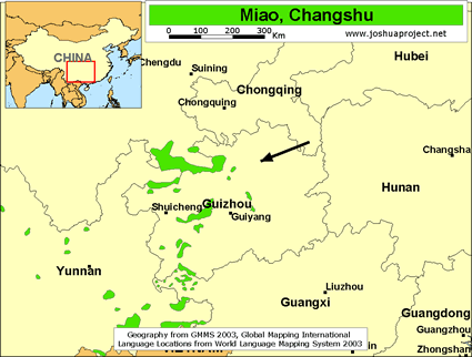 Map of Miao, Changshu in China