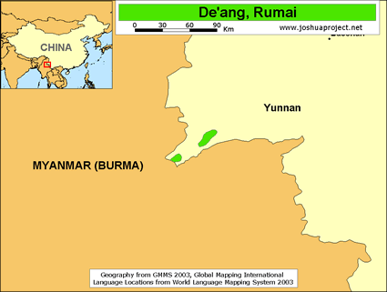 Map of De'ang, Rumai in China