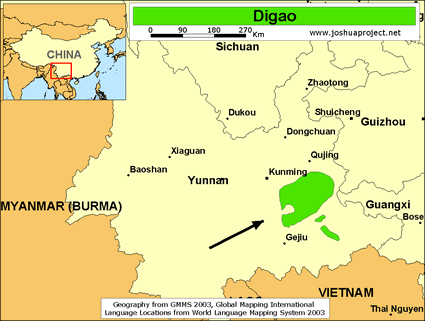 Map of Digao in China