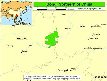 Map of Dong, Northern in China
