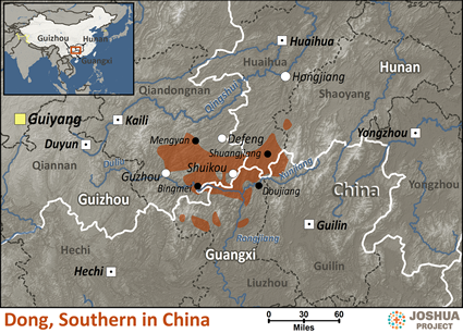 Map of Dong, Southern in China