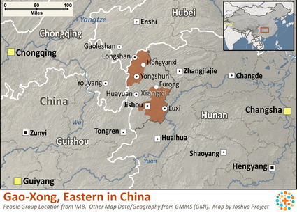 Map of Ghao-Xong, Eastern in China