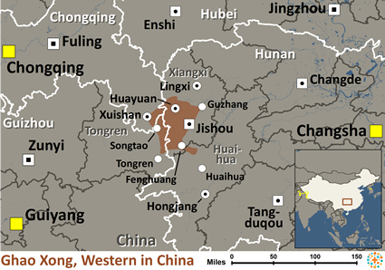 Map of Ghao-Xong, Western in China