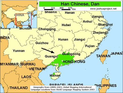 Map of Han Chinese, Dan in China
