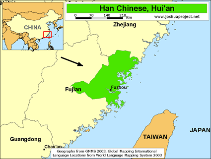 Han chinese huian in china joshua project han chinese huian in china map source joshua project global mapping international gumiabroncs