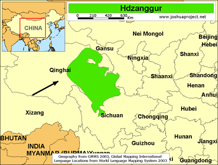 Map of Hdzanggur in China