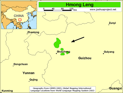 Map of Hmong Leng in China