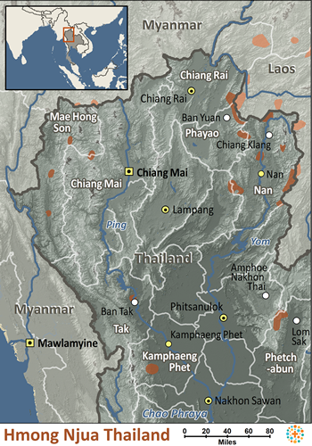 Map of Hmong Njua in Thailand