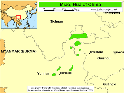 Map of Miao, Hua in China