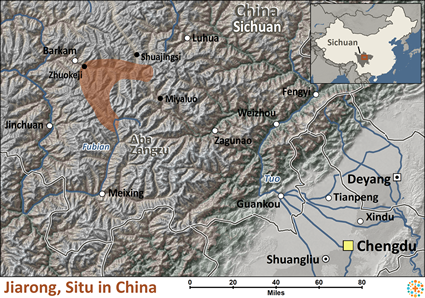 Map of Jiarong, Situ in China