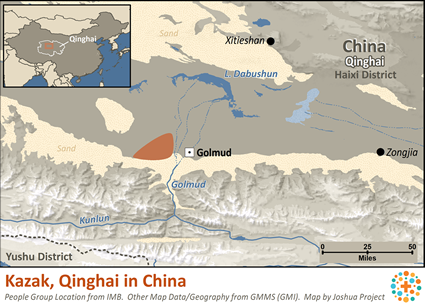 Map of Kazak, Qinghai in China