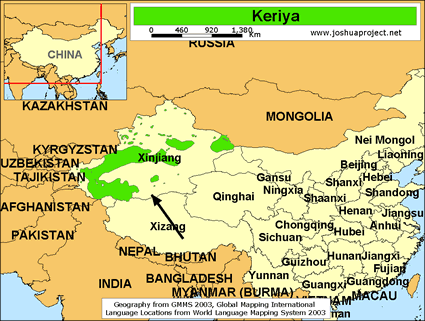 Map of Keriya in China