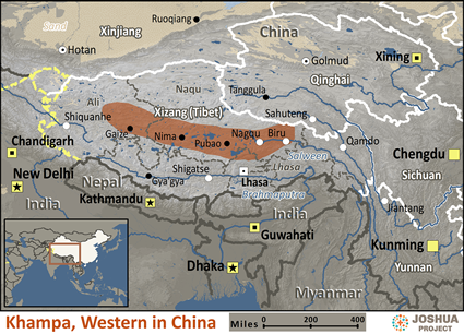 Map of Khampa, Western in China