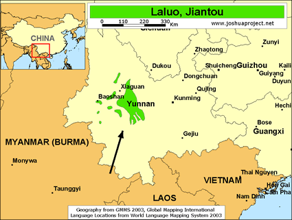 Map of Laluo, Jiantou in China